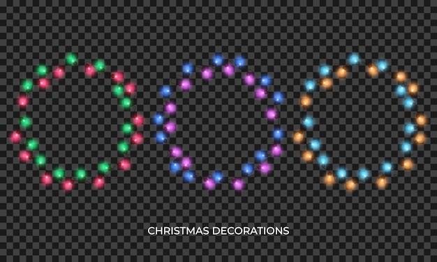 Luzes de natal, guirlanda de luzes multicoloridas realistas para ano novo e natal