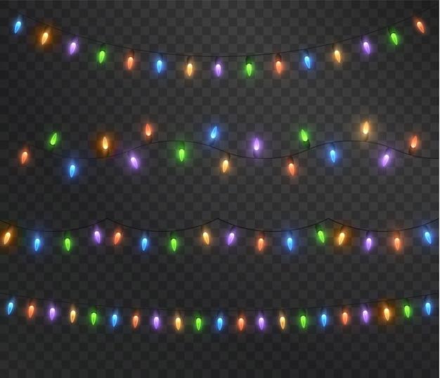 Luzes de natal guirlanda de natal colorida elemento de decoração isolado festivo 2022