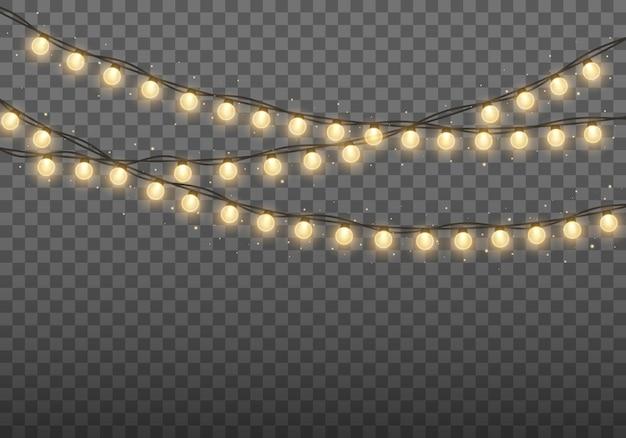 Luzes de natal guirlanda dourada brilhante lâmpadas brilhantes para cartões de natal