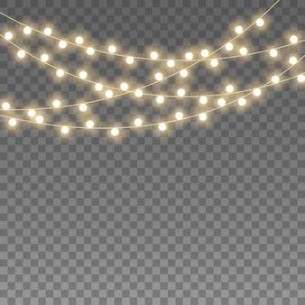 Luzes de natal, guirlanda em transparente.