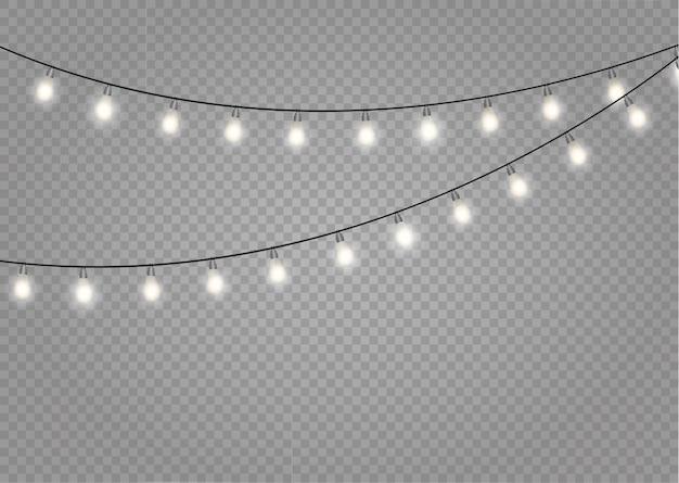 Luzes de natal isoladas. decorações de guirlandas.