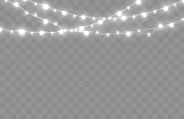 Luzes de natal isoladas em fundo transparente brilhante vetor de guirlanda de natal brilham lâmpadas em fios de arame