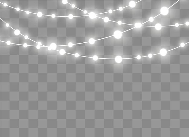 Luzes de natal isoladas em fundo transparente. guirlanda brilhante de natal. ilustração