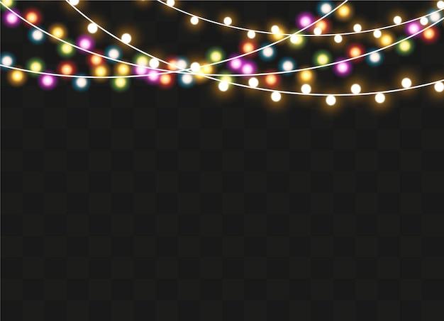 Luzes de natal isoladas em fundo transparente. guirlanda brilhante de natal.