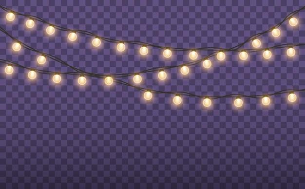 Luzes de natal isoladas em fundo transparente guirlanda brilhante de natal