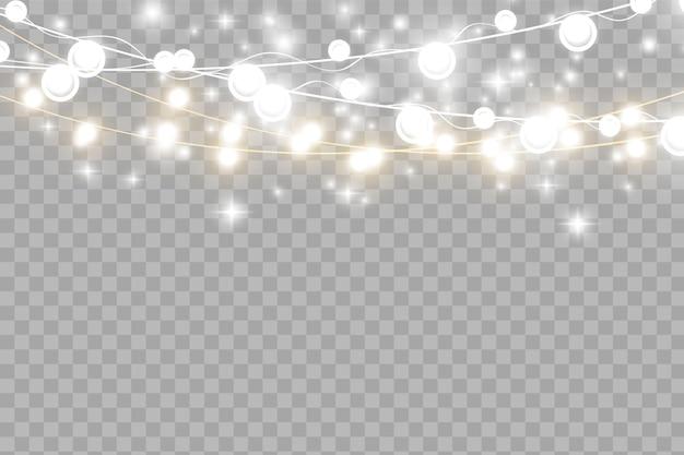 Luzes de natal isoladas em fundo transparente. ilustração vetorial