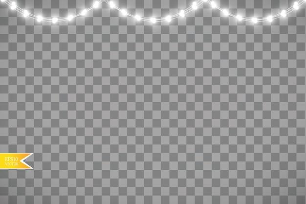 Luzes de natal isoladas em fundo transparente.