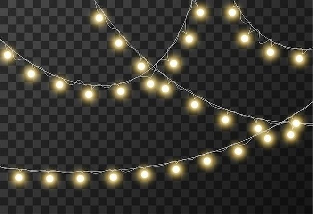 Luzes de natal isoladas em fundo transparente