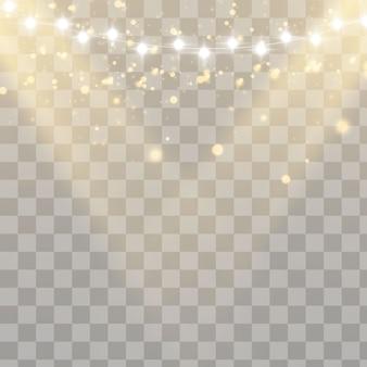 Luzes de natal isoladas em fundo transparente. Vetor Premium