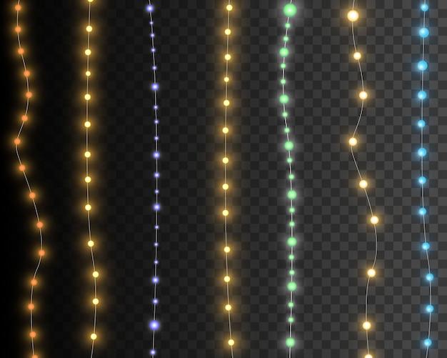 Luzes de natal isoladas em guirlanda de fundo transparente