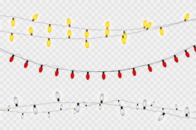 Luzes de natal, isoladas em um fundo transparente. guirlanda de natal brilhante. luzes brancas translúcidas de decoração de ano novo. lâmpada de néon led. luzes luminosas para as férias de natal
