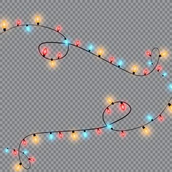 Luzes de natal, isoladas em um fundo transparente. guirlanda de natal brilhante. luzes de decoração translúcidas brancas de ano novo. lâmpada de neon led. luzes luminosas para as férias de natal
