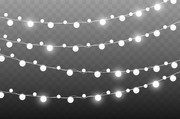 Luzes de natal, isoladas em um fundo transparente. luzes brilhantes de guirlanda.