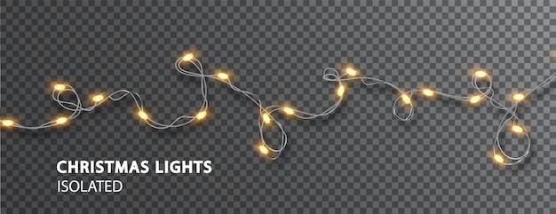 Luzes de natal isoladas. guirlanda de led brilhante em fundo transparente