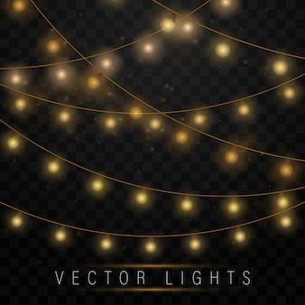 Luzes de natal isoladas. lâmpada de néon led. decorações de guirlandas