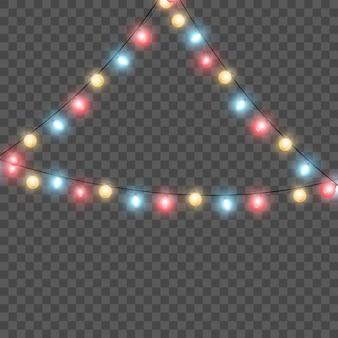 Luzes de natal isoladas. luzes brilhantes para o natal. decorações de guirlandas.