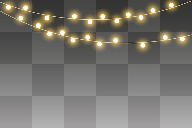 Luzes de natal isolado, guirlanda realista