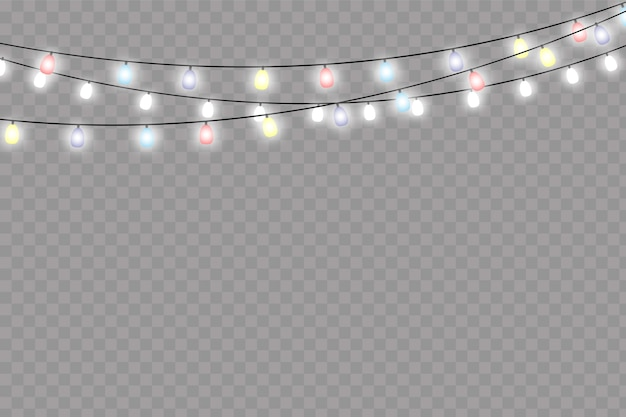 Luzes de natal isolaram elementos de design realista.