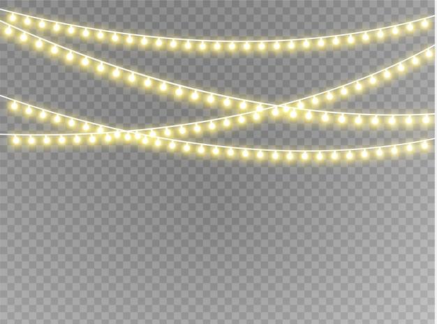 Luzes de natal isolaram elementos de design realistas