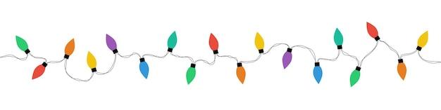 Luzes de natal. lâmpadas de luzes de natal, isoladas. guirlandas. ilustração de natal. ilustração vetorial