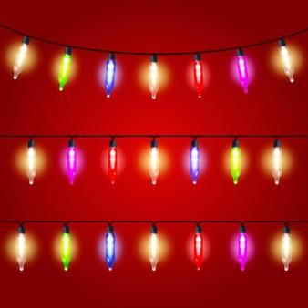 Luzes de natal - lâmpadas elétricas de carnaval amarradas