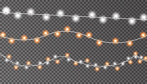 Luzes de natal no fundo transparente