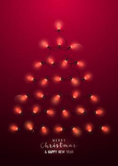 Luzes de natal vermelhas brilhantes