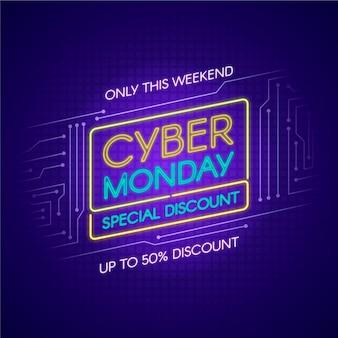 Luzes de néon cyber segunda-feira apenas neste fim de semana