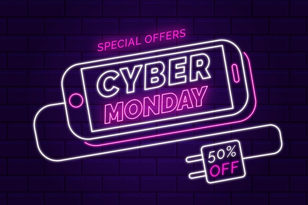 Luzes de néon cyber segunda-feira com plug-in