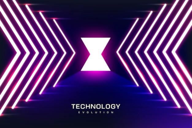 Luzes de néon de fundo de tecnologia