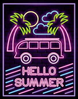 Luzes de néon de horário de verão