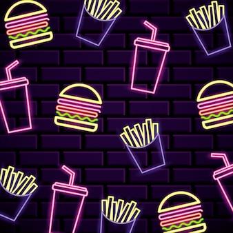 Luzes de néon de padrão de fast-food