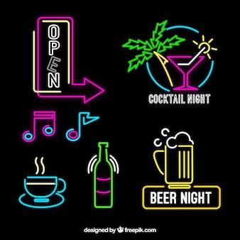 Luzes de néon decorativos cartazes com cores diferentes