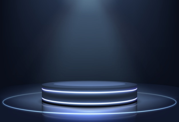 Luzes de néon iluminadas palco vetor realista