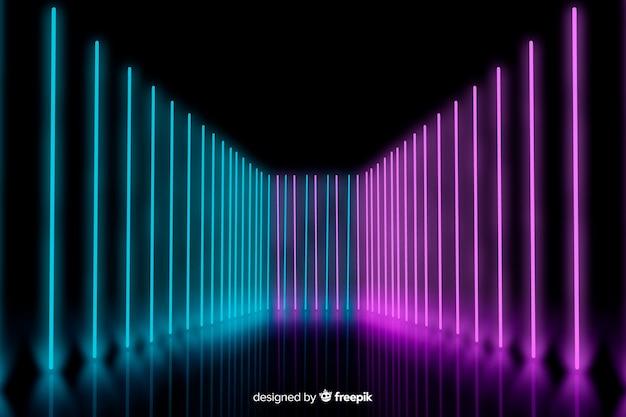 Luzes de neon no palco alinhado com fundo
