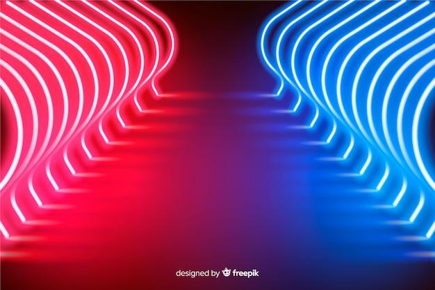 Luzes de neon radiantes fundo de palco