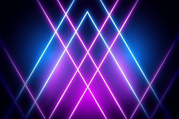 Luzes de néon violeta e azul em fundo escuro