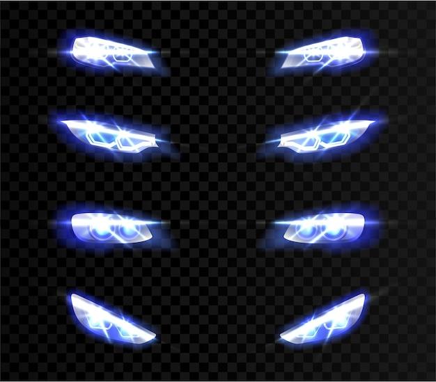 Luzes dianteiras de carro realistas em diferentes formas em transparente