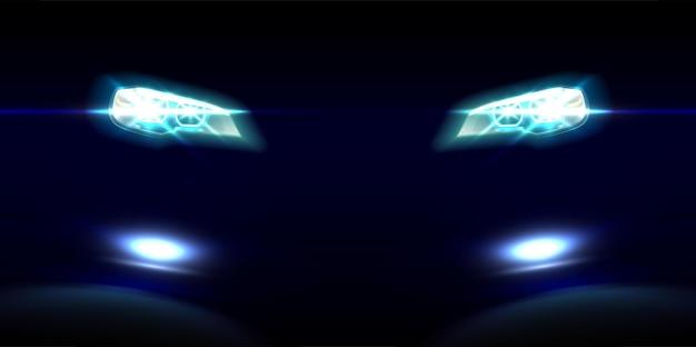 Luzes dianteiras de carro realistas no preto