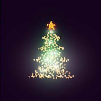Luzes do bokeh da árvore de natal do vetor no fundo escuro elemento decorativo do projeto de natal