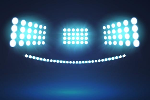 Luzes do estádio brilhante design realista