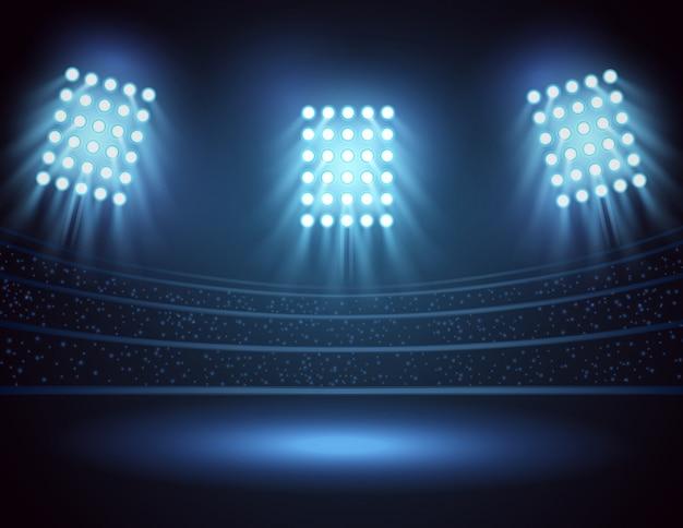 Luzes do estádio e campo de três focos. ilustração vetorial