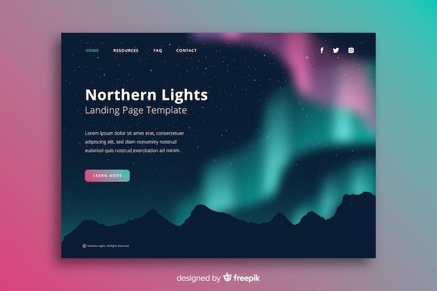 Luzes do norte acima da página de destino das montanhas