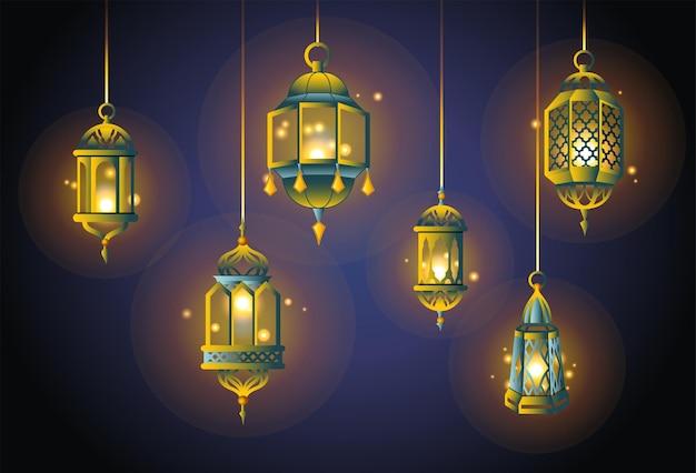 Luzes do ramadã - um conjunto de vetores realistas de diferentes objetos. fundo gradiente. use esses elementos de clip-art de qualidade para o seu design. tenha uma atmosfera espiritual com essas lanternas tradicionais.