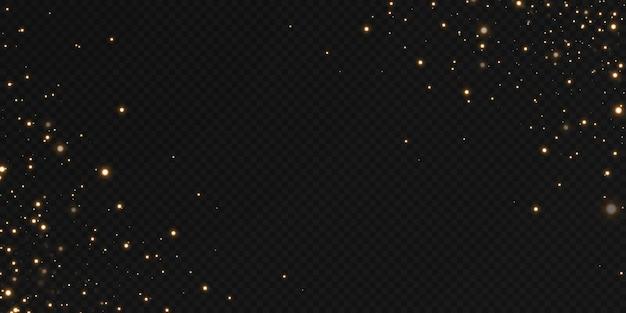Luzes douradas caindo de natal. pó de ouro abstrato mágico e brilho. fundo festivo de natal