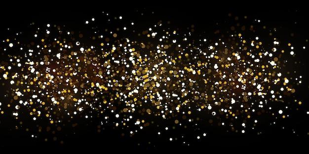 Luzes douradas caindo do natal.