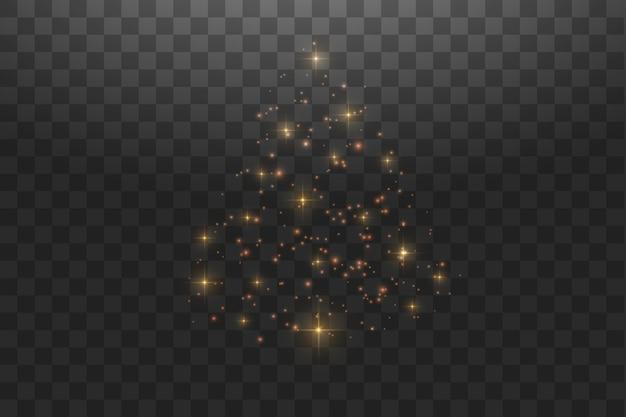 Luzes e brilhos do bokeh do brilho. partículas brilhantes e faíscas com efeito de reflexo de lente em fundo transparente.