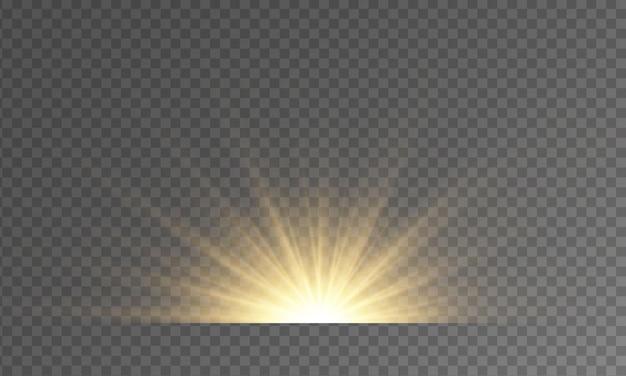 Luzes e brilhos em um fundo transparente