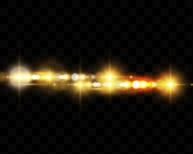 Luzes e estrelas brilhantes. isolado. partículas de poeira mágica cintilantes