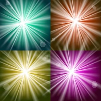 Luzes e flashes vetoriais em fundos coloridos